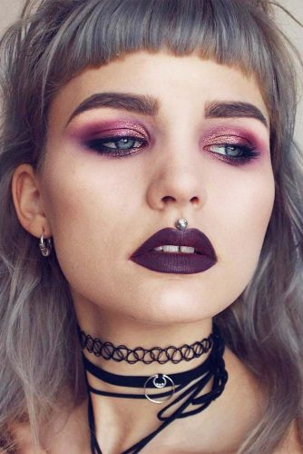 Pastel Goth Makeup Idea #pastelgoth #purplelipstick
