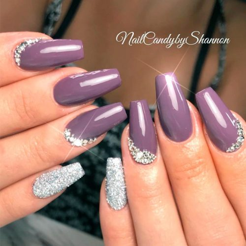 Dark Mauve Purple Nails With Tiny Rhinestones Bottom Design #rhinestonesnails #coffinnails