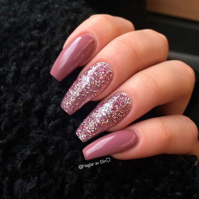 Mauve Glitter Nail Design #glitternails #prettynails