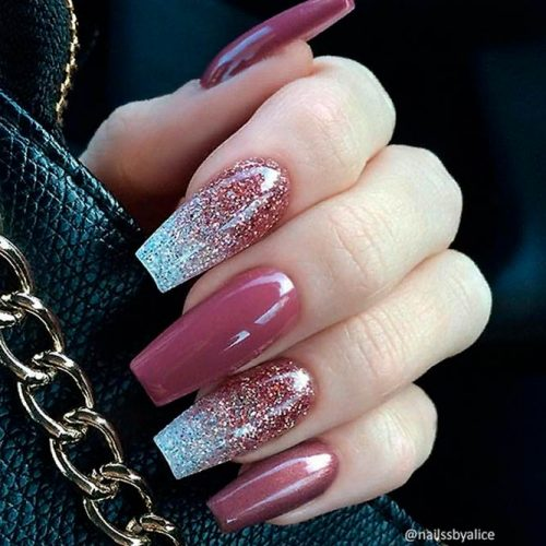 Berry Mauve And Glitter Ombre #coffinnails #glitternails