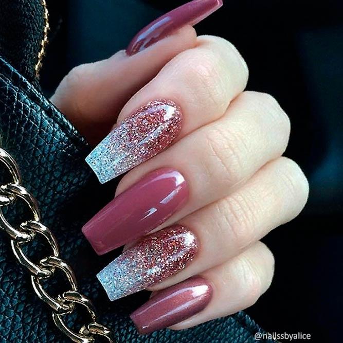 Berry Mauve And Glitter Ombre #coffinnails #glitternails