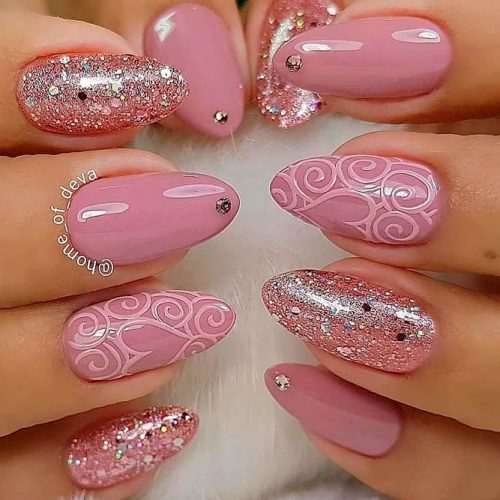 Lovely Pattern For Mauve Color Nails #rhinestonesnnails #glitternails