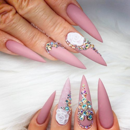 Luxury Nail Art With 3-D Flowers #longnails #mattenails #flowersnails