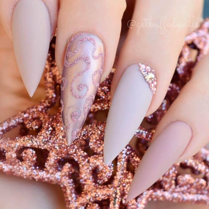 Bling Metallic Mauve Nail Design With Sandy Art Pattern #stilettonails #mattenails