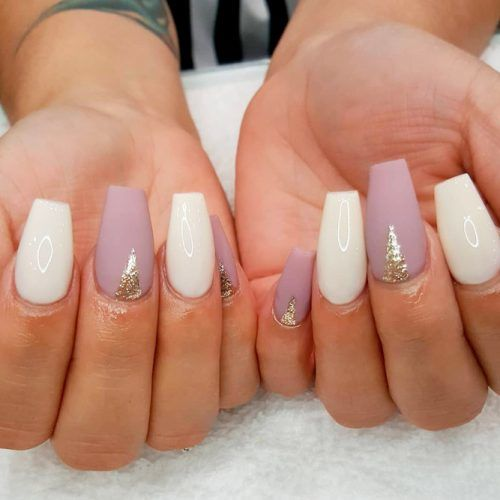 Mauve And White Nail Art #mattenails #glitternails