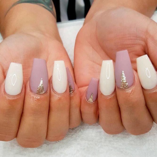 Mauve And White Nail Art #mattenails #glitternails