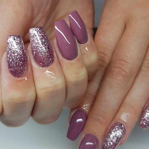 Dark Mauve Purple And Rose gold Glitter Nails Design #glitternails