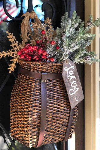 Christmas Basket Door Decor #door decor #basket #berries