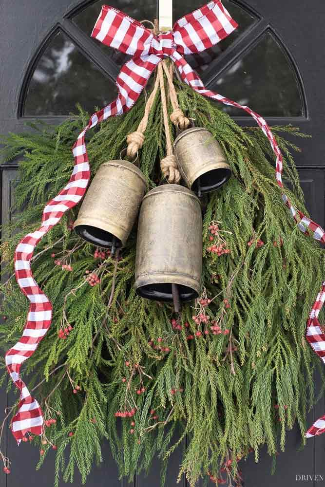 Bell Decoration For Front Door #greenery #bells
