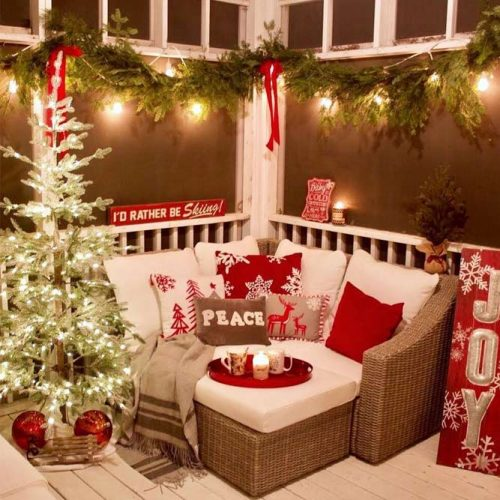 Porch Sitting Place Decorations #frontporch #christmastree