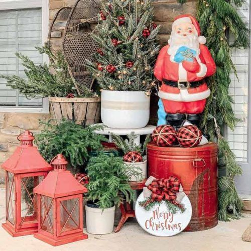 Traditional Outdoor Decorations #lanterns #santa