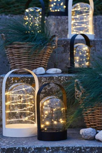 Fairy Lanterns With Pine Baskets #lanterns #ledlights