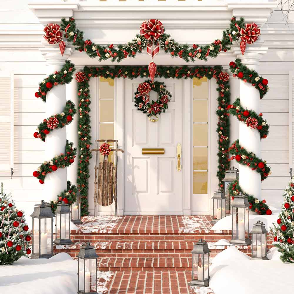 Festive Christmas Front Porch