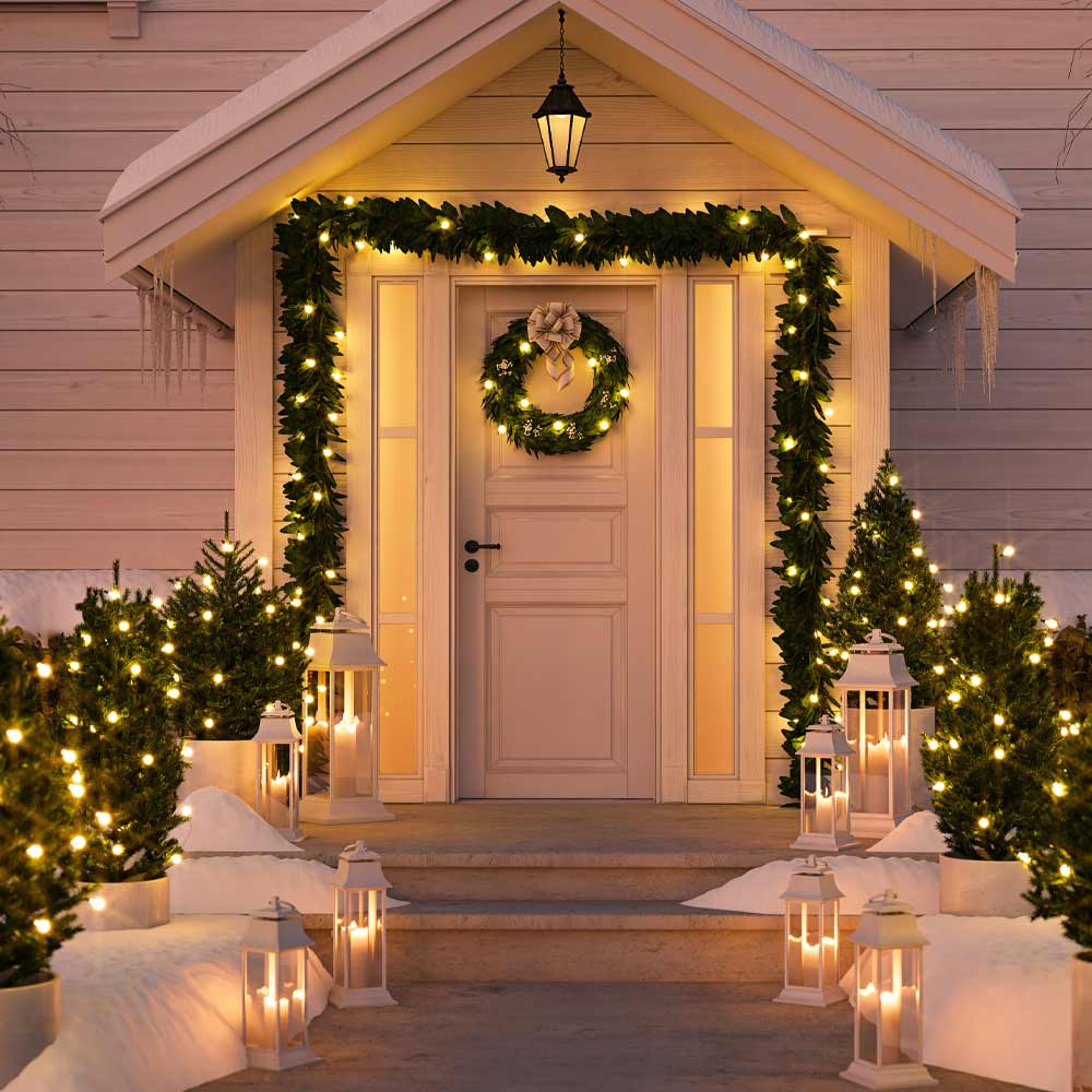 Front Porch Decoration with Garlands