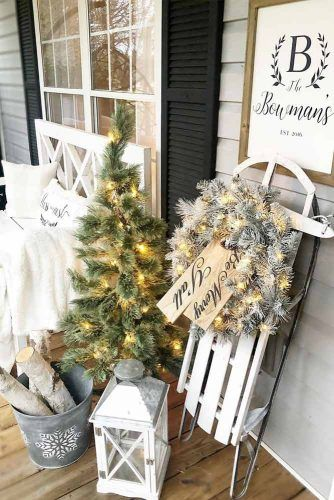 Christmas Porch Decorations In White Color