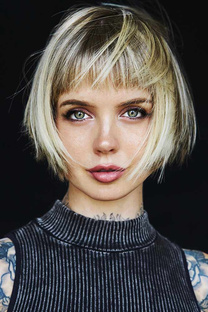 Angular Blonde Bob With Straight Bangs #shorthair #bangs #bob
