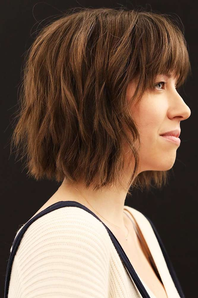 Cropped Bob With Flipped Out Tips #shorthair #bangs #bob