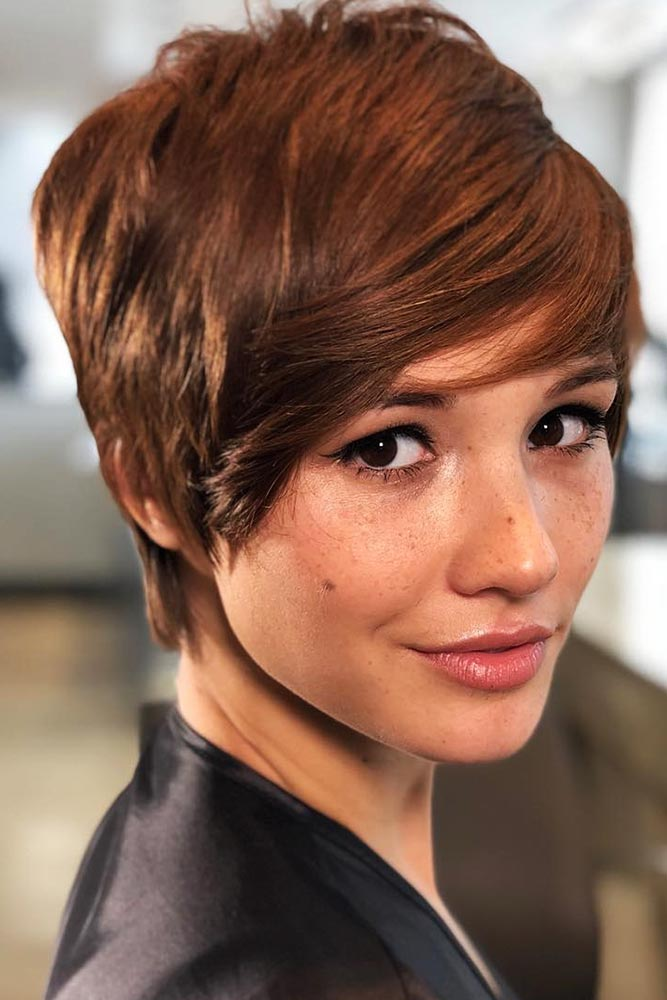 Sharp Pixie For Fine Hair #shorthair #bangs #pixie
