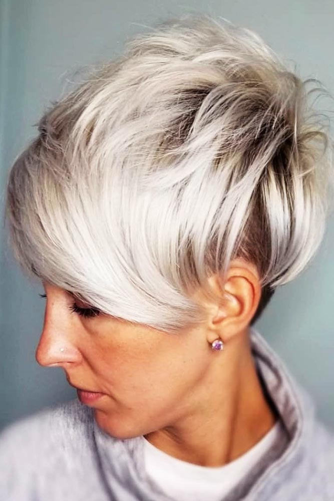 Layered Pixie With Long Bangs Undercut #shorthair #bangs #pixie #undercut