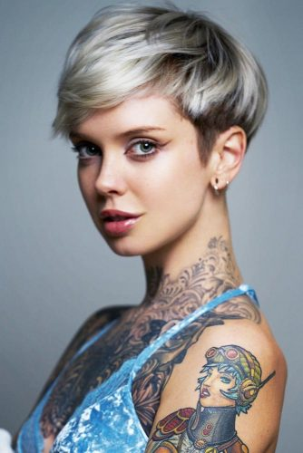 Pixie Cut With Short Bangs Mid Taper #shorthair #bangs #pixie