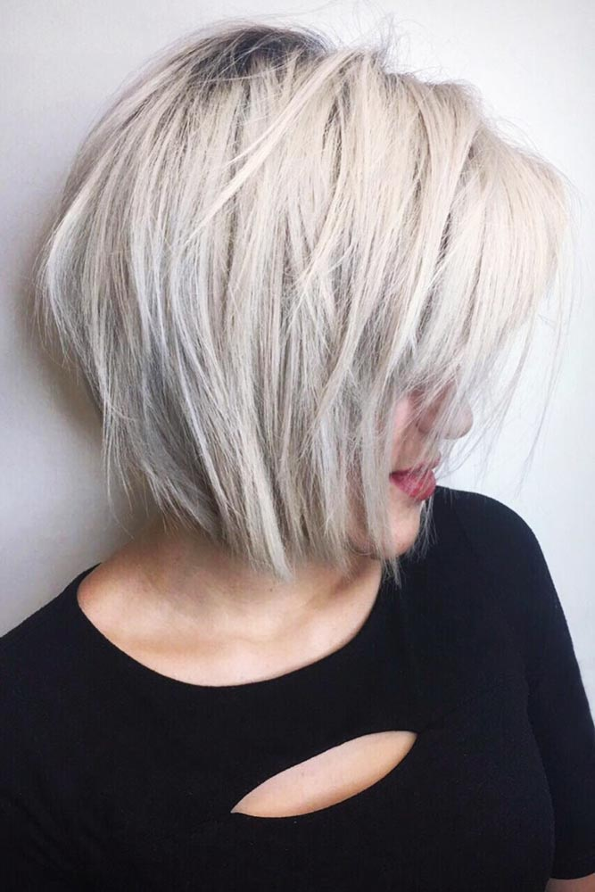 Short Bob With Bangs Textured, Choppy Layers #shorthair #bangs #bob