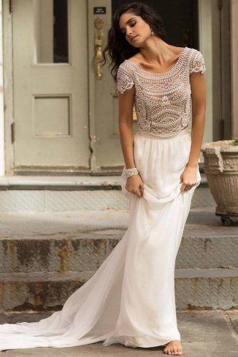 Glam Two Pieces Vintage Wedding Dress #rhinestones #pearls