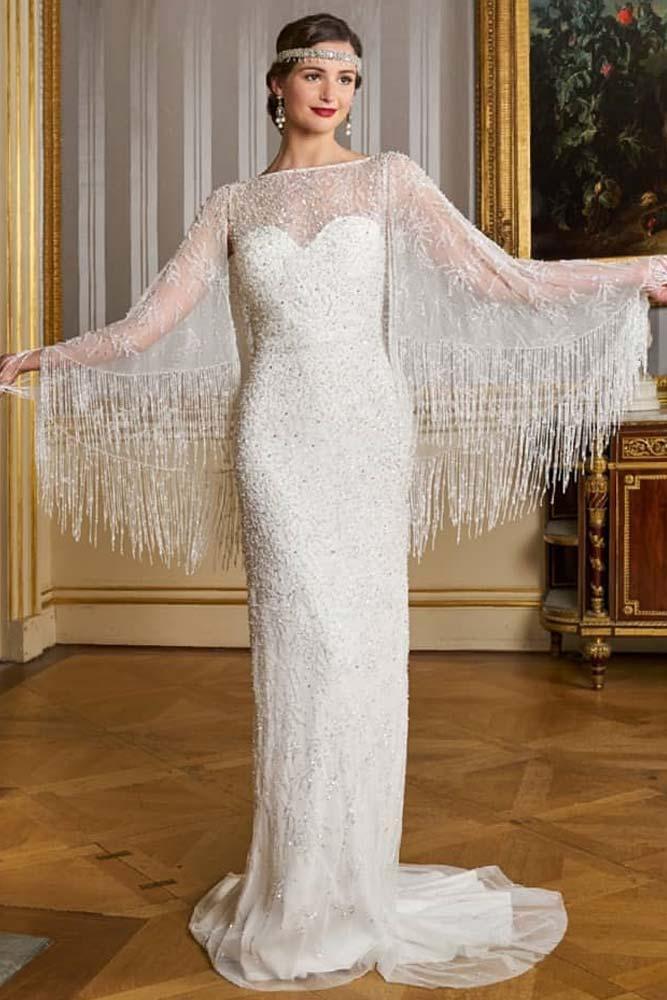 1920s Vintage Dress With Fringe Sleeves #fringesleeves #1920