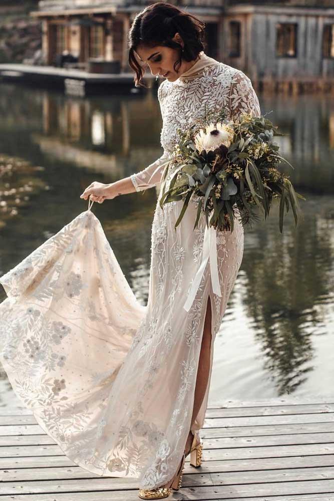 Lace Vintage Dress With High Neck #highneck #lacedress