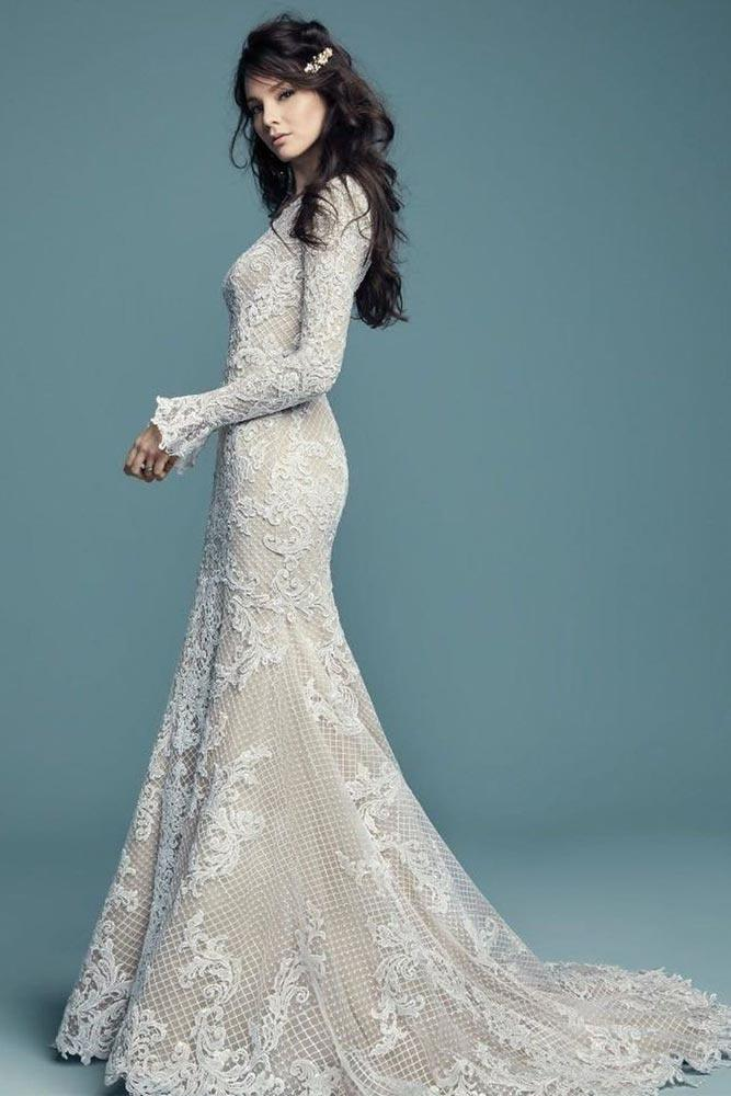 Lace Vintage Wedding Dress With Long Sleeves #lacedress