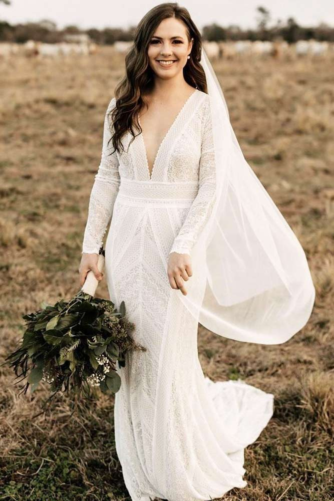 V-neck Lace Dress Design With Long Sleeves #vneckdress