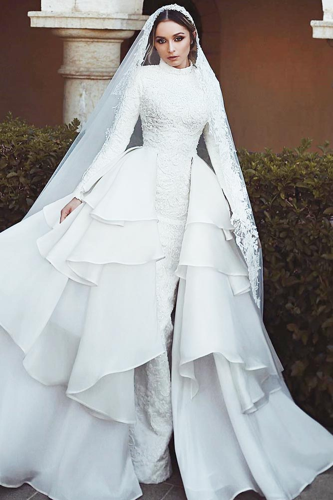 Princess Mermaid Wedding Vintage Dress With Detachable Overskirt #overskirt #mermaiddress