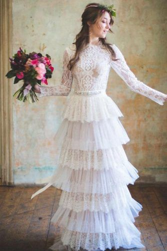 Vintage Dress With Ruffles And Long Sleeves #lacedress #ruffles