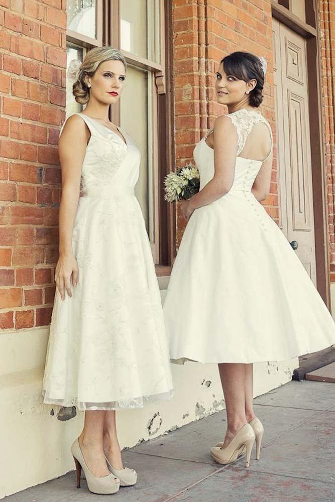 Tea-length Wedding Dresses With Open Back #openbackdress #tealength