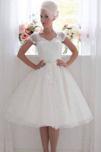 Tea Length Wedding Dress With Tulle Skirt #tulleskirt