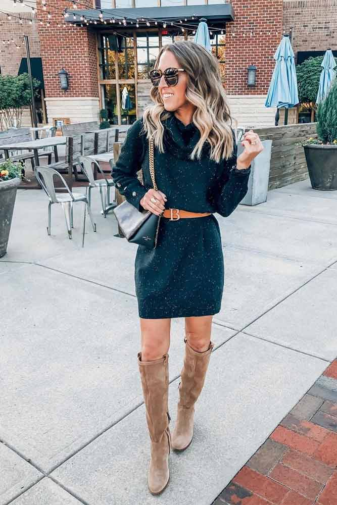 Belted Long Sweater Dress #sweaterdress