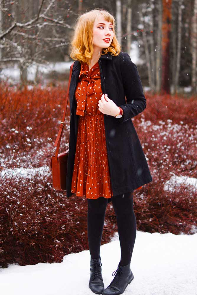 Short Dress With Black Tights #reddress #wintercoat