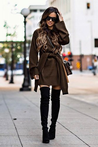 Warm Dress With Over The Knee Boots #overthekneeboots #browndress