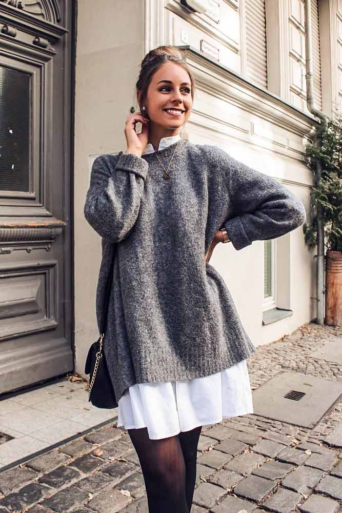 Dress Under The Sweater #sweater