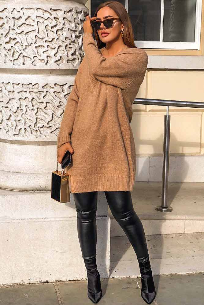 Sweater Dress Over Black Leather Pants #leatherpants