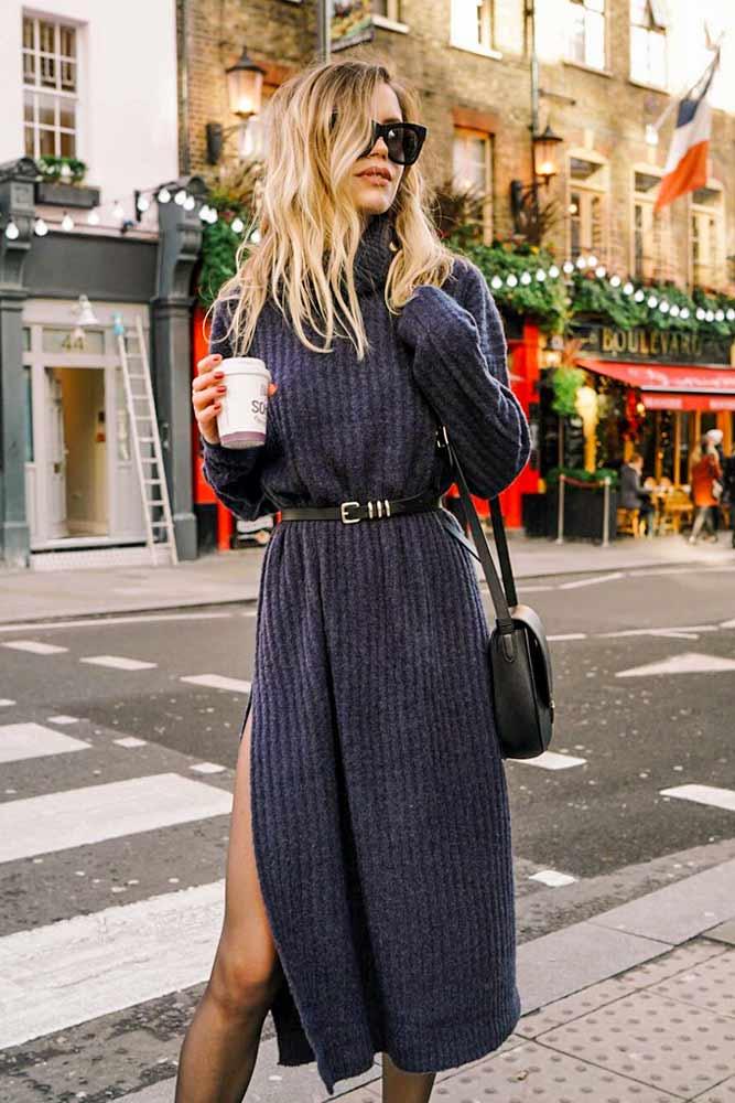 Belted Long Sleeved Dress With Turtleneck #belteddress