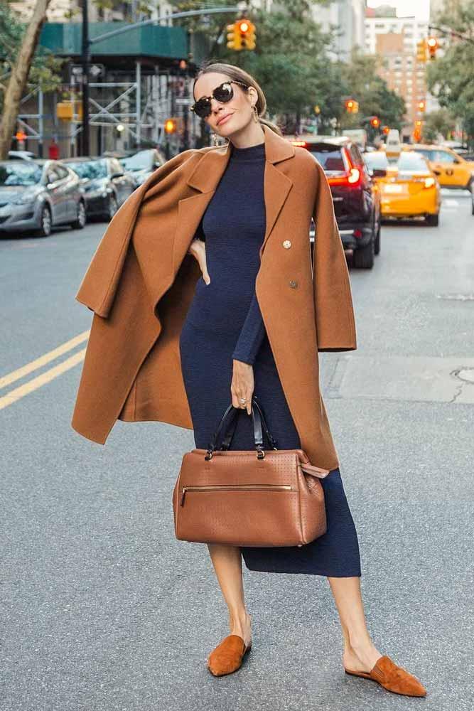 Long Dress With Knee-Length Classy Coat #longdress