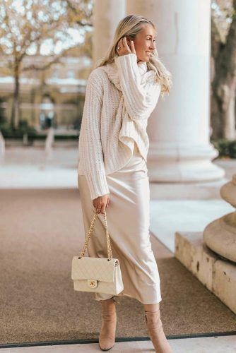 Monochromatic Look With Long Silk Dress Under #silkdress