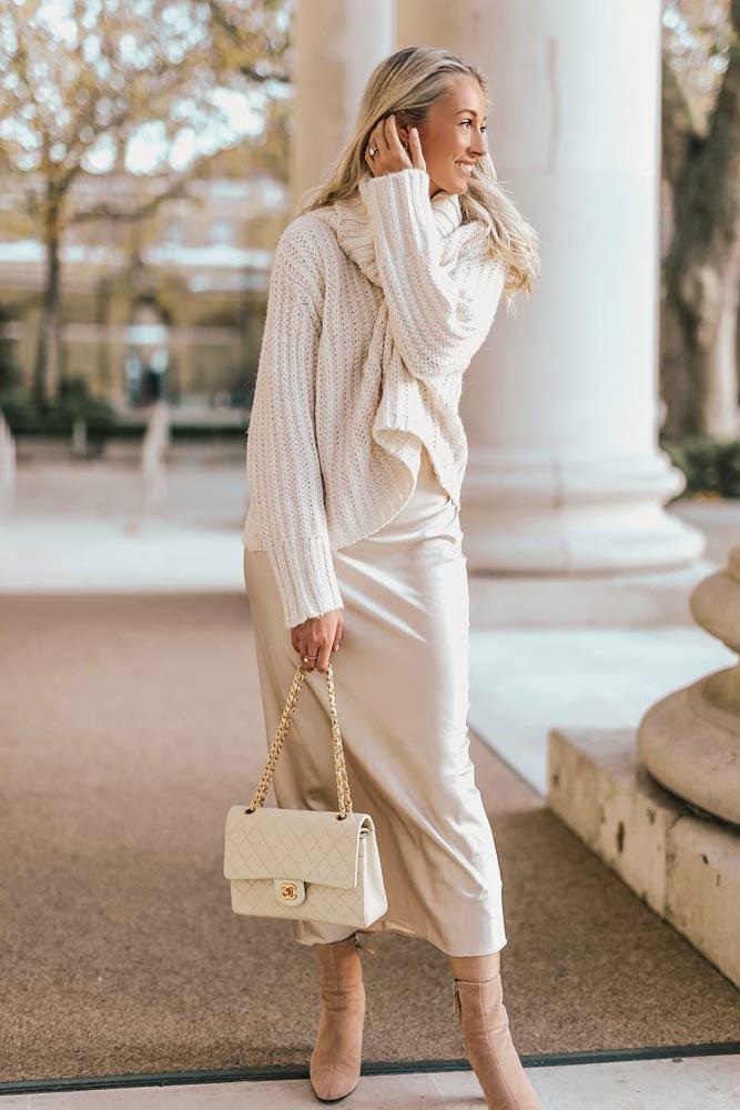 Monochromatic Look With Long Silk Dress Under #silkdress