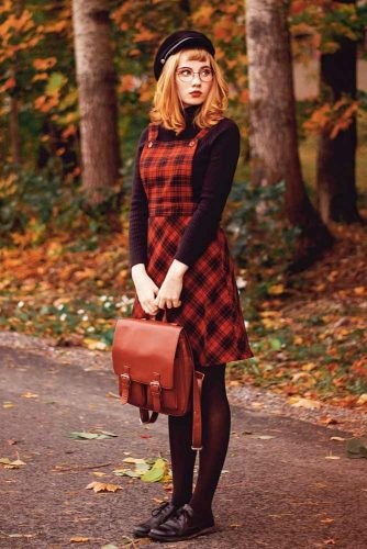 Dress Over A Long-Sleeve Turtleneck #plaiddress #reddress