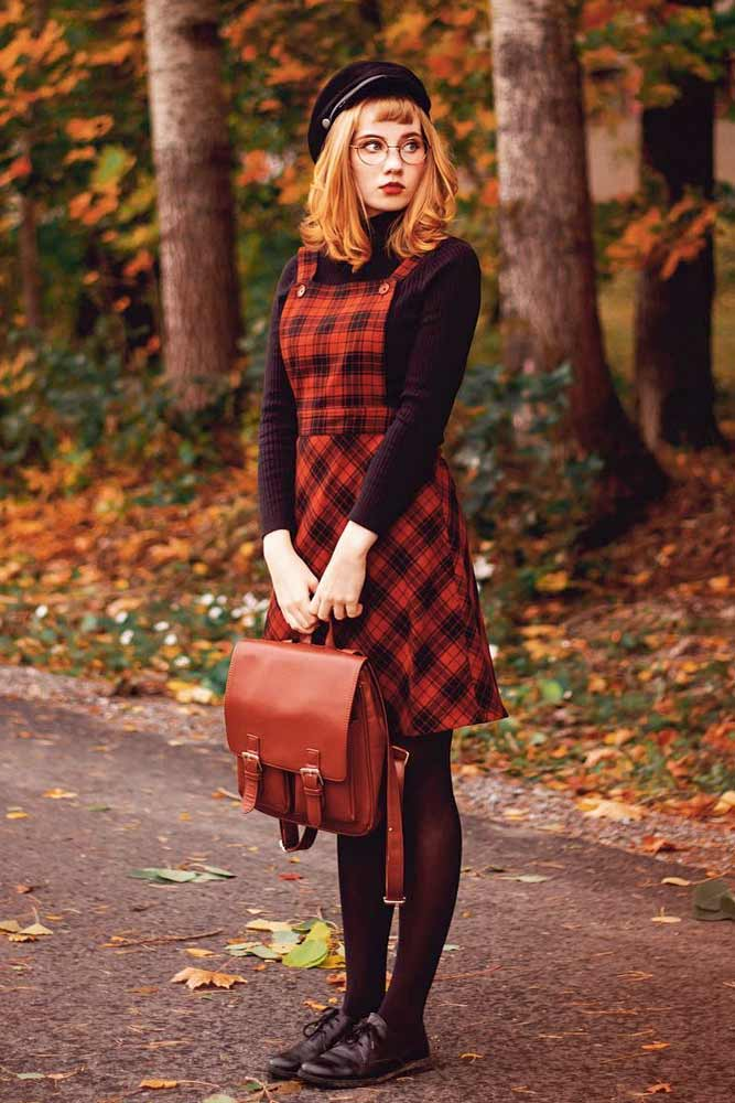 Dress Over A Long-Sleeve Turtleneck #plaiddress #reddress