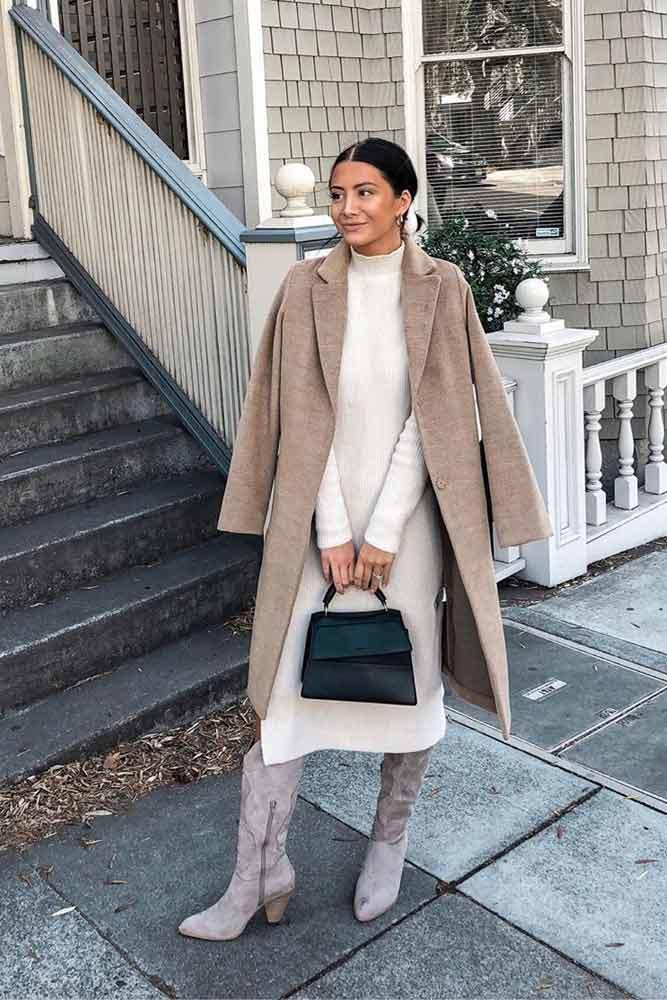 Long Slim Dress With Coat #wintercoat