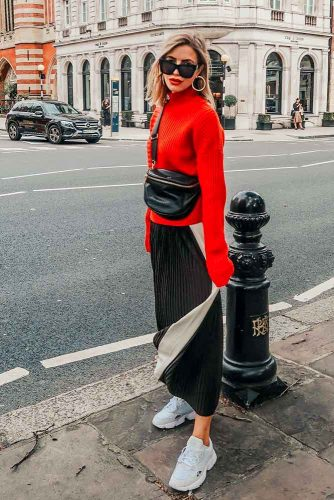 Maxi Dress With Bright Oversize Sweater #redsweater #oversizesweater