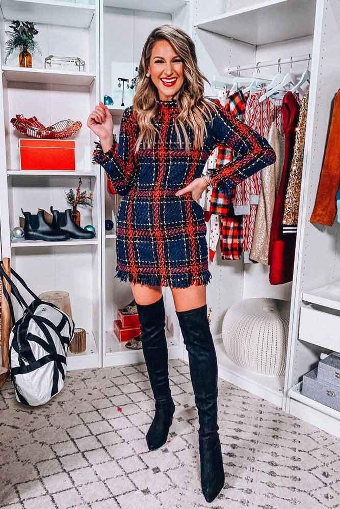 Plaid Print Short Winter Dress #plaiddress