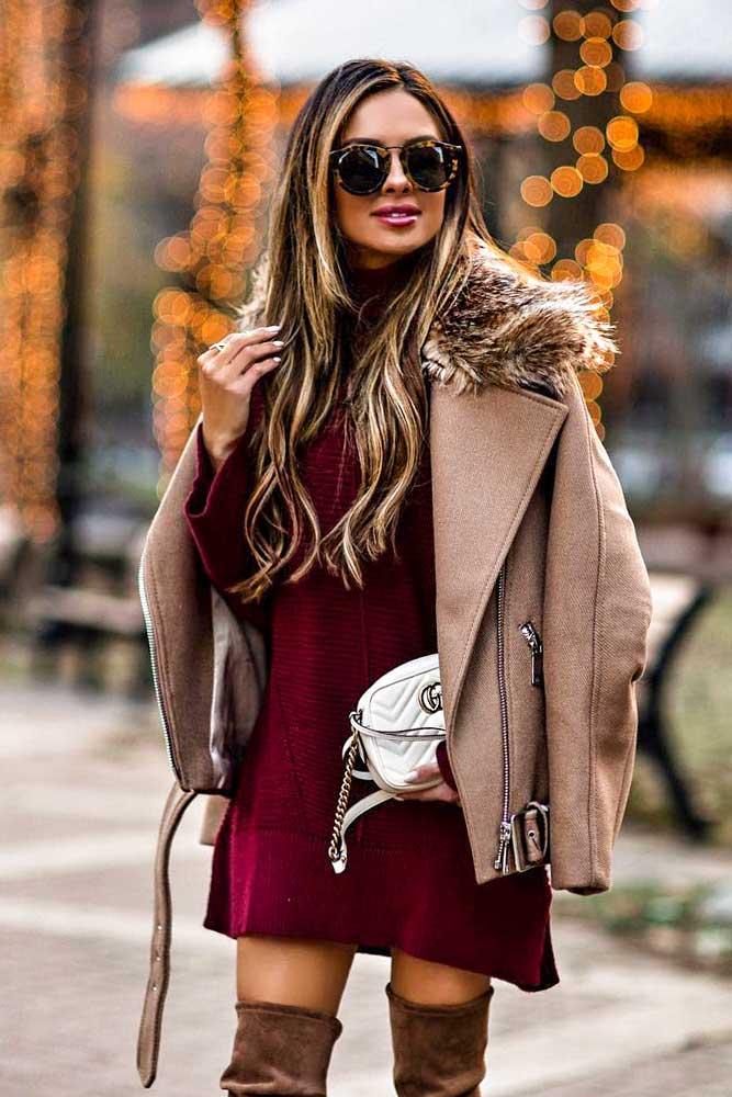 Sweater Dress With Winter Jacket #winterjacket