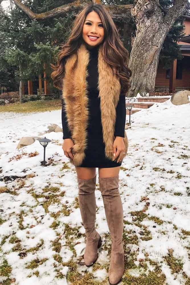 Winter Dress With Faux Fur #fauxfur #otkboots